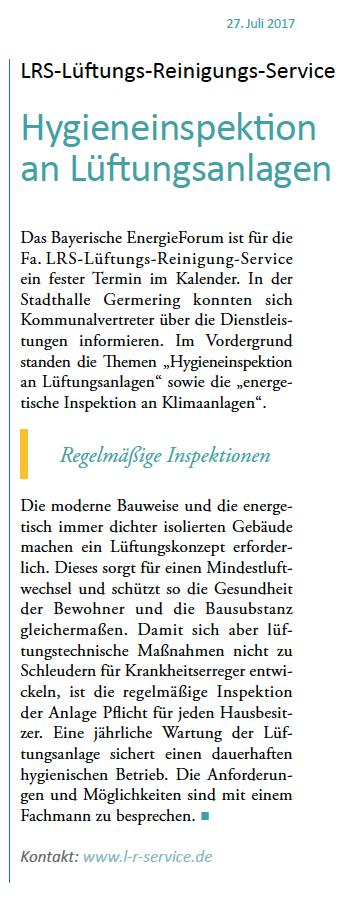 Lüftungsreinigung München artikel bayerische gemeindezeitung ausgabe juli 2017 31 juli